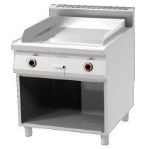 REDFOX FTHC 90/80 E Szeletsütő lap, elektromos, sima króm sütőfelülettel, nyitott tárolóval, 800mm