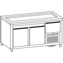 Önkiszolgáló pultsor hűtött munkaasztala hűtött lappal rm. fedlappal, hossz: 135cm – COLD G235-13N