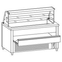 Önkiszolgáló pultsor süteményes pultja rm.fedlappal, hossz: 120cm – COLD G250-12N