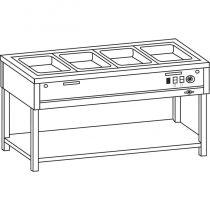 Vízfűrdős melegentartó, nyitott, alsó polccal, 4*GN1/1, OSZTATLAN medencével – COLD G070-04E