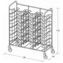 Univerzális tálcaszállító kocsi, háromoszlopos, 30 tálcához – METALCARRELLI 1480U