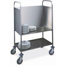 Tányérszállító kocsi, rozsdamentes, külön alsó polccal, 200 db tányérhoz – METALCARRELLI 1272