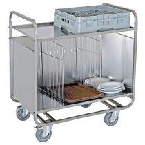 Tálca és tányérszállító kocsi, rozsdamentes, belül elválasztható kialakítással, felső polccal – METALCARRELLI 1270PR
