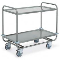 Rozsdamentes szervizkocsi, kétszintes, 200kg teherbírás, 80x50cm-es – METALCARRELLI 1400CP