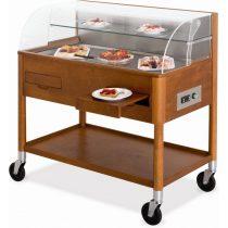 Süteményhűtő kocsi, faburkolatú, evőeszköz és tányértartó fiókkal, alsó polccal – METALCARRELLI 6670-18