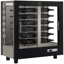 Asztali borhűtő vitrin, három oldalon üveg, zárt hátfallal, 48 álló palackhoz – EXPO TV-M20