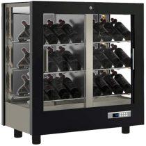 Asztali borhűtő vitrin, három oldalon üveg, zárt hátfallal, 42 döntött palackhoz – EXPO TV-M22