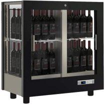 Asztali borhűtő vitrin, három oldalon üveg, zárt hátfallal, 64 álló palackhoz – EXPO TV-M23