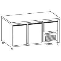 Hűtött munkaasztal 2 ajtós/1 fiók gránit fedlappal – COLD G020-13G