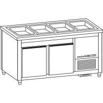 Salátahűtő pult, 3 ajtós, 5*GN1/1, roszdamentes fedlappal, felhajtással – COLD G010-18NR