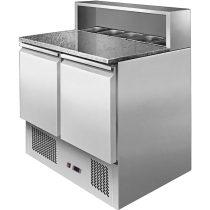 ESL 3831 Pizzaelőkészítő hűtött munkaasztal, 2 ajtós, beépített feltéthűtővel 5xGN1/6