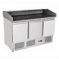 ESL 3852 Pizzaelőkészítő hűtött munkaasztal, 3 ajtós, feltéthűtő nélkül