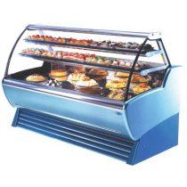 Süteményhűtő vitrin, ventillációs hűtéssel, front és oldalpanellel ÚJ BEMUTATÓTERMI BERENDEZÉS KIS ESZTÉTIKAI HIBÁVAL.