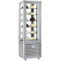 """Süteményhűtő vitrin, négy oldalon üvegezett, forgópolcos, 360L """"CURVE"""" – SILFER CPS 350 R"""