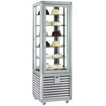 """Süteményhűtő vitrin, négy oldalon üvegezett, forgópolcos, 427L """"CURVE"""" – SILFER CPS 450 R"""