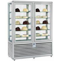 """Süteményhűtő vitrin, négy oldalon üvegezett, fix polcok, két légtér, 848L """"CURVE"""" – SILFER CPS 900 V/V"""