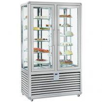 """Süteményhűtő vitrin, négy oldalon üvegezett, forgópolcos, két légtér, 848L """"CURVE"""" – SILFER CPS 900 R/R"""