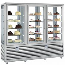 "Süteményhűtő vitrin, négy oldalon üvegezett, fix polcok, 3 légtér, 1388L ""CURVE"" – SILFER CPS 1300 V/V/V"
