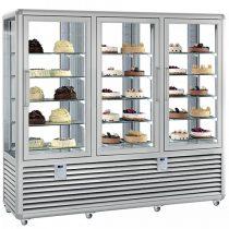 Süteményhűtő vitrin, négy oldalon üvegezett, fix és forgó polcok, három légtér, 1388L – SILFER CPS 1300 V/R/V