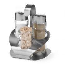 Asztali patika, 3 részes (só, bors, fogvájó), rozsdamentes acél – HENDI465325