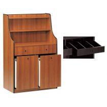 Szervírozó szekrény, gurulós, 2 tároló fiókkal, 2 nyitott evőeszköztartó fiókkal – METALCARRELLI 1605F