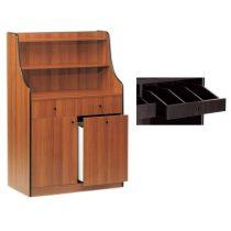 Szervírozó szekrény, gurulós, 1 ajtóval, 1 tároló fiókkal, 2 nyitott evőeszköztartó fiókkal – METALCARRELLI 1606F