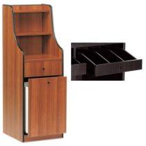 Szervírozó szekrény, keskeny, gurulós, 1 tároló fiókkal, 1 nyitott evőeszköztartó fiókkal – METALCARRELLI 1615F