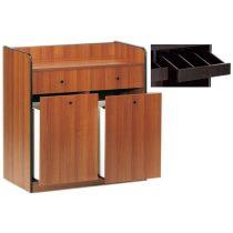 Szervírozó szekrény, alacsony, gurulós, 2 tároló fiókkal, 2 nyitott evőeszköztartó fiókkal – METALCARRELLI 1625F