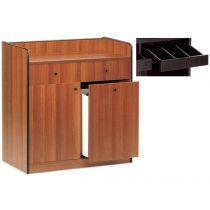Szervírozó szekrény, alacsony, gurulós, 1 ajtóval, 1 tároló fiókkal, 2 nyitott evőeszköztartó fiókkal – METALCARRELLI 1626F